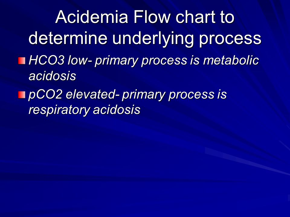 Acidemia Flow chart to determine underlying process HCO3 low- primary process is metabolic acidosis pCO2 elevated- primary process is respiratory acid
