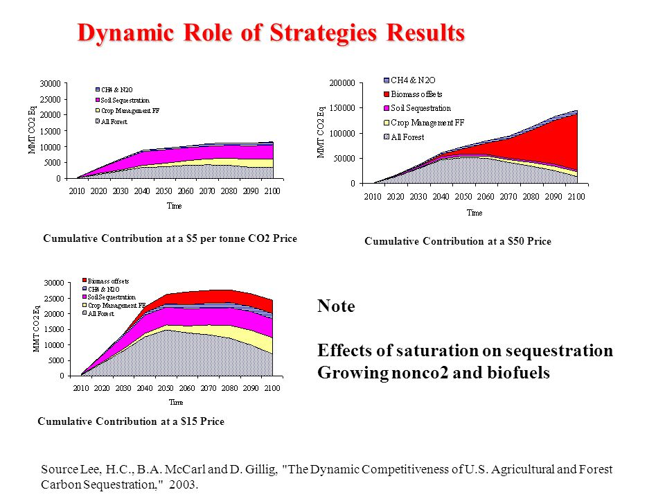 Dynamic Role of Strategies Results Cumulative Contribution at a $5 per tonne CO2 Price Cumulative Contribution at a $15 Price Cumulative Contribution at a $50 Price Note Effects of saturation on sequestration Growing nonco2 and biofuels Source Lee, H.C., B.A.