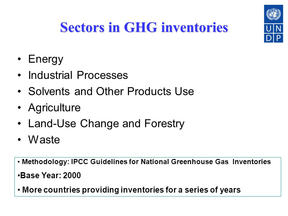 Sectors in GHG inventories Energy Industrial Processes Solvents and Other Products Use Agriculture Land-Use Change and Forestry Waste Methodology: IPCC Guidelines for National Greenhouse Gas Inventories Base Year: 2000 More countries providing inventories for a series of years