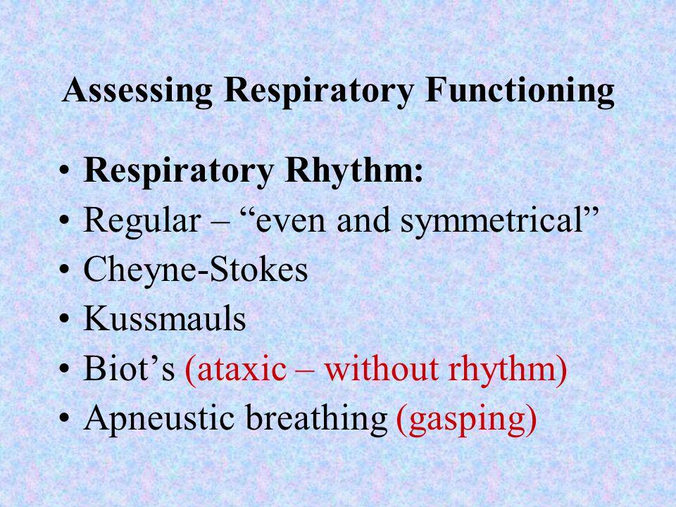 Assessing Respiratory Functioning Respiratory Rate: Tachypnea R>24 Bradypnea R<10 Apnea Respiratory Depth: Deep - diaphragmatic Shallow