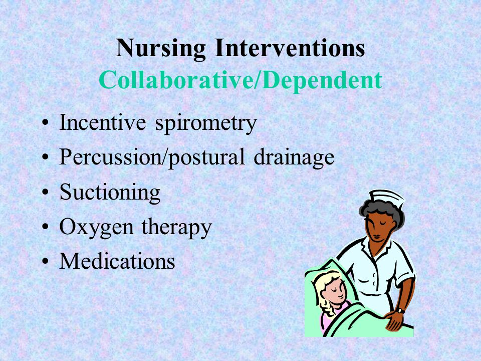 Nursing Interventions Independent Airway maintenance Positioning Deep breathing & coughing Pursed-lip breathing Abdominal/diaphragmatic breathing Hydr