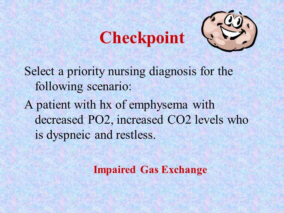Checkpoint Select a priority nursing diagnosis for the following scenario: 88 y.o. female with pneumonia who has a non-productive cough, R= 24, course