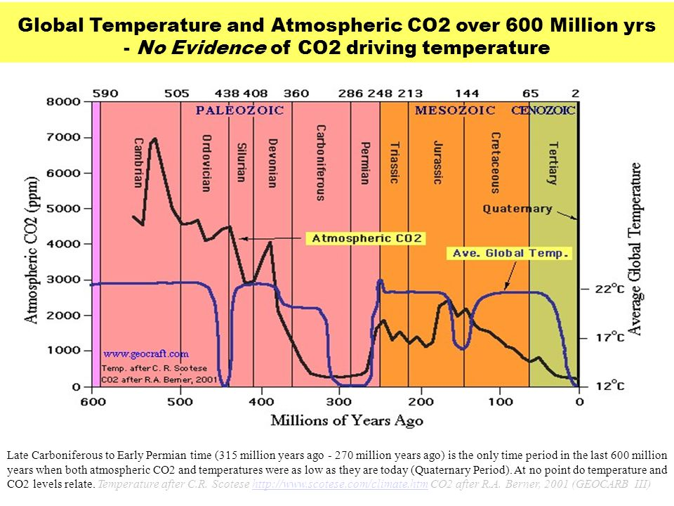 Global Temperature and Atmospheric CO2 over 600 Million yrs - No Evidence of CO2 driving temperature Late Carboniferous to Early Permian time (315 mil