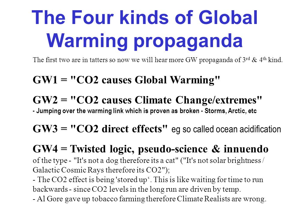 Why GW is renamed Climate Change The theory of 'Global warming' holds that Man's CO2 causes Global Warming and this causes other Climate Change and extremes.