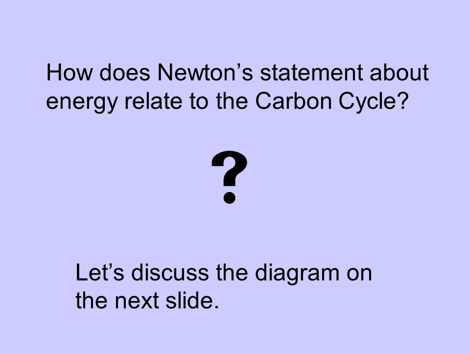 How does Newton's statement about energy relate to the Carbon Cycle?  Let's discuss the diagram on the next slide.