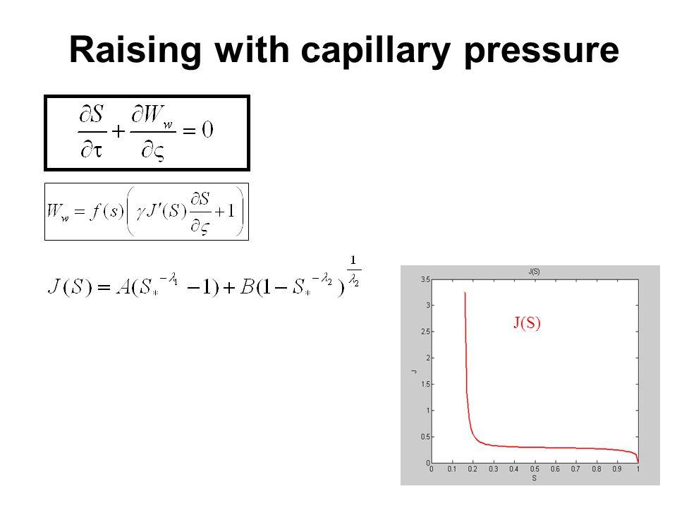 Raising with capillary pressure J(S)
