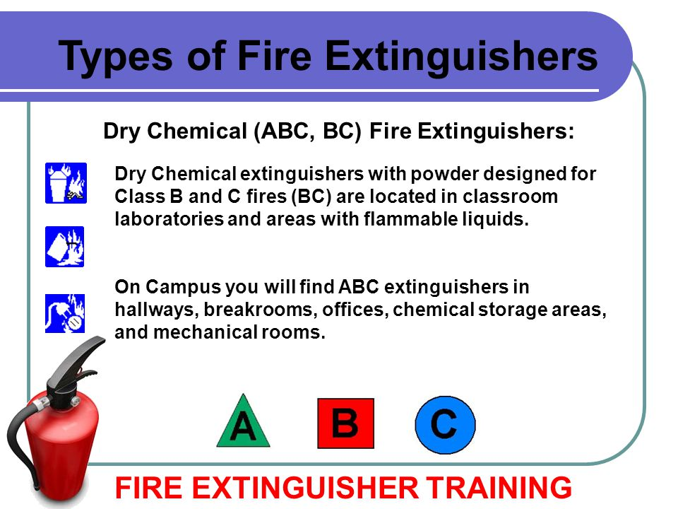 Dry Chemical (ABC, BC) Fire Extinguishers: FIRE EXTINGUISHER TRAINING Types of Fire Extinguishers Dry Chemical extinguishers with powder designed for