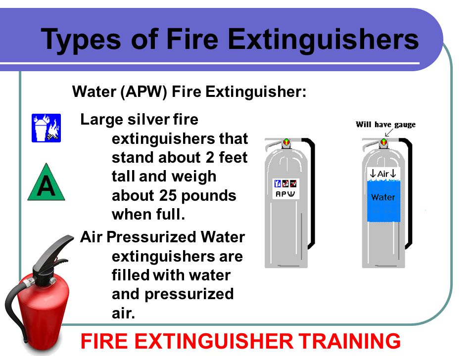 Water (APW) Fire Extinguisher: Large silver fire extinguishers that stand about 2 feet tall and weigh about 25 pounds when full. Air Pressurized Water