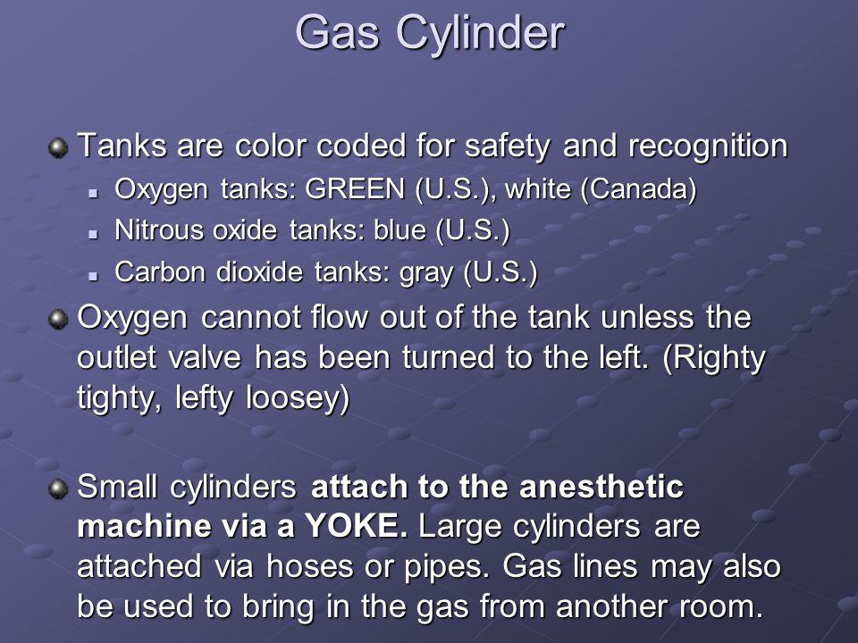 Gas Cylinder Tanks are color coded for safety and recognition Oxygen tanks: GREEN (U.S.), white (Canada) Oxygen tanks: GREEN (U.S.), white (Canada) Nitrous oxide tanks: blue (U.S.) Nitrous oxide tanks: blue (U.S.) Carbon dioxide tanks: gray (U.S.) Carbon dioxide tanks: gray (U.S.) Oxygen cannot flow out of the tank unless the outlet valve has been turned to the left.