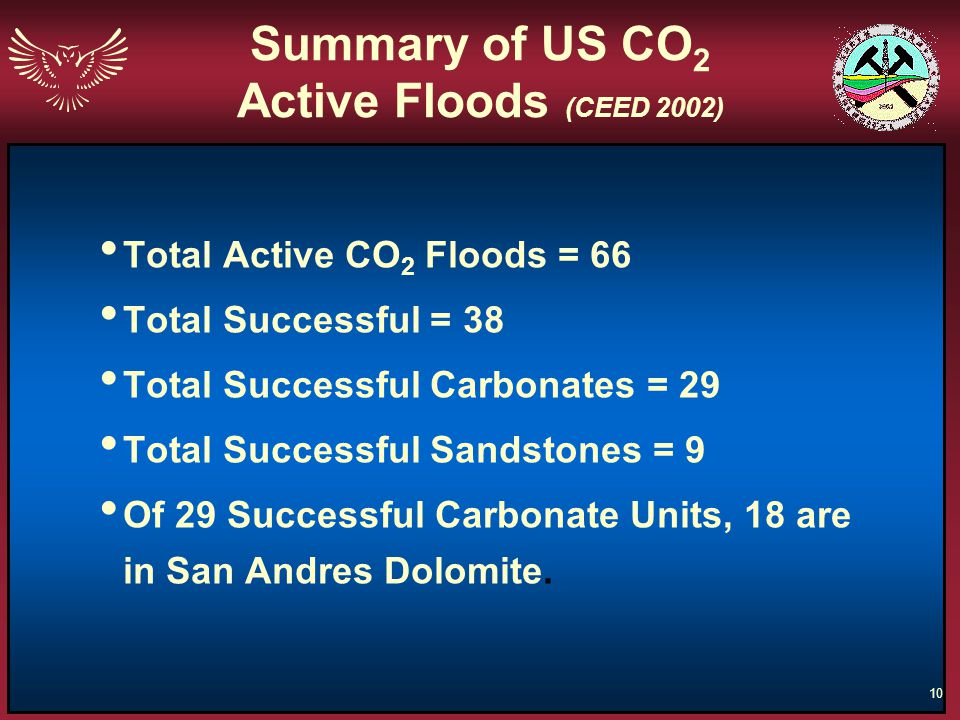 10 Summary of US CO 2 Active Floods (CEED 2002) Total Active CO 2 Floods = 66 Total Successful = 38 Total Successful Carbonates = 29 Total Successful