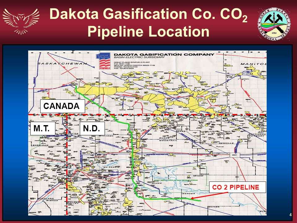 4 CANADA N.D.M.T. CO 2 PIPELINE Dakota Gasification Co. CO 2 Pipeline Location