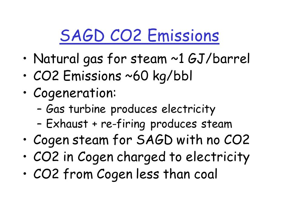 SAGD CO2 Emissions Natural gas for steam ~1 GJ/barrel CO2 Emissions ~60 kg/bbl Cogeneration: –Gas turbine produces electricity –Exhaust + re-firing produces steam Cogen steam for SAGD with no CO2 CO2 in Cogen charged to electricity CO2 from Cogen less than coal