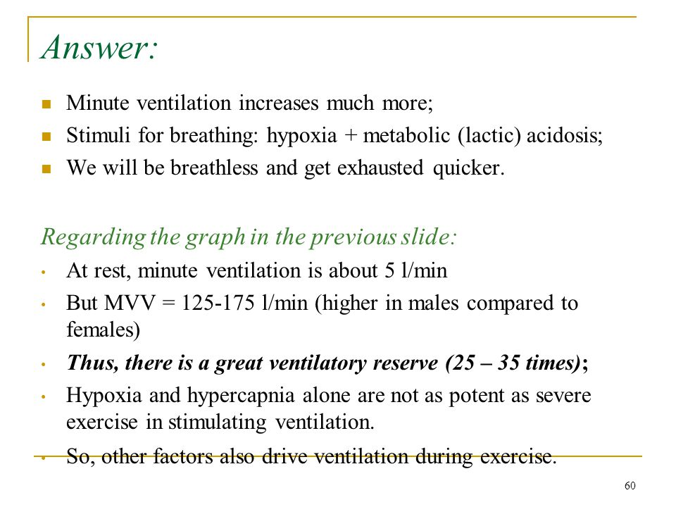 Answer: Minute ventilation increases much more; Stimuli for breathing: hypoxia + metabolic (lactic) acidosis; We will be breathless and get exhausted