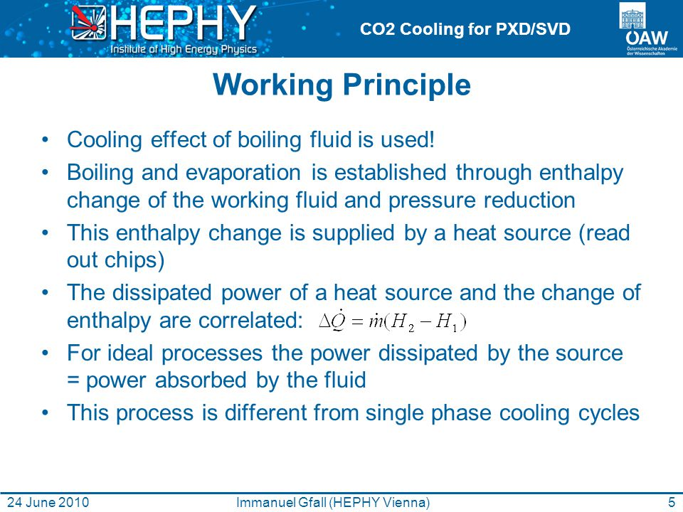 CO2 Cooling for PXD/SVD Working Principle Cooling effect of boiling fluid is used.