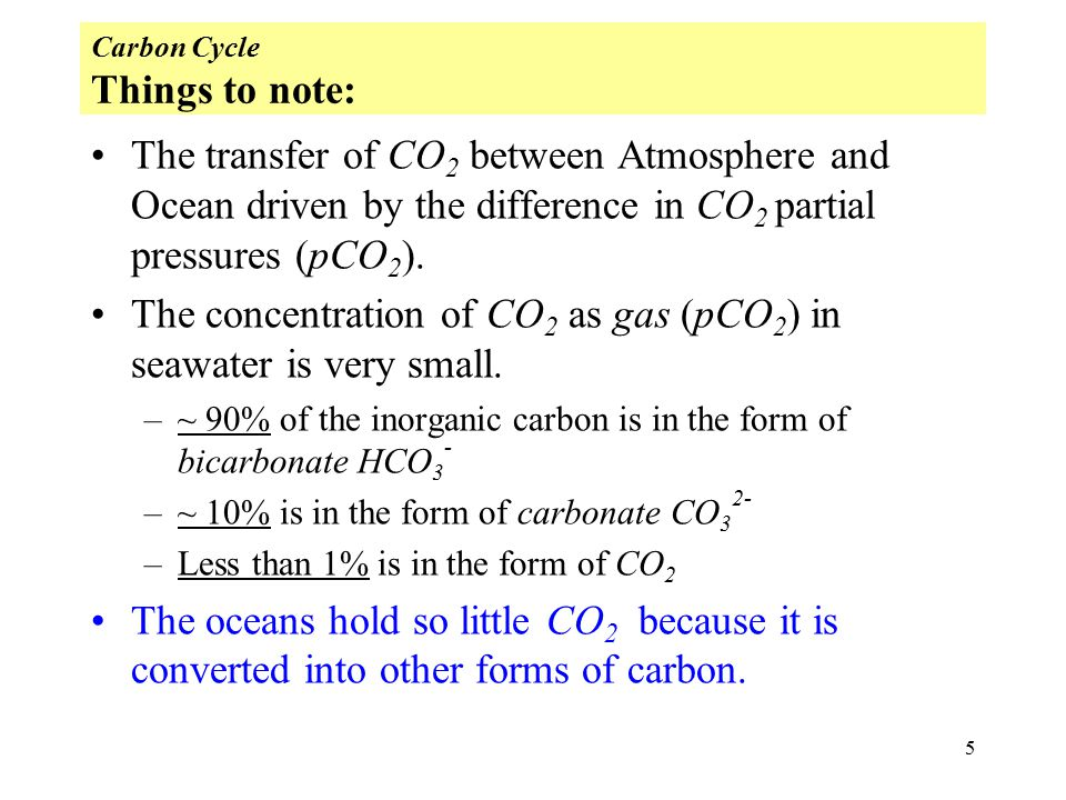 5 Carbon Cycle Things to note: The transfer of CO 2 between Atmosphere and Ocean driven by the difference in CO 2 partial pressures (pCO 2 ).