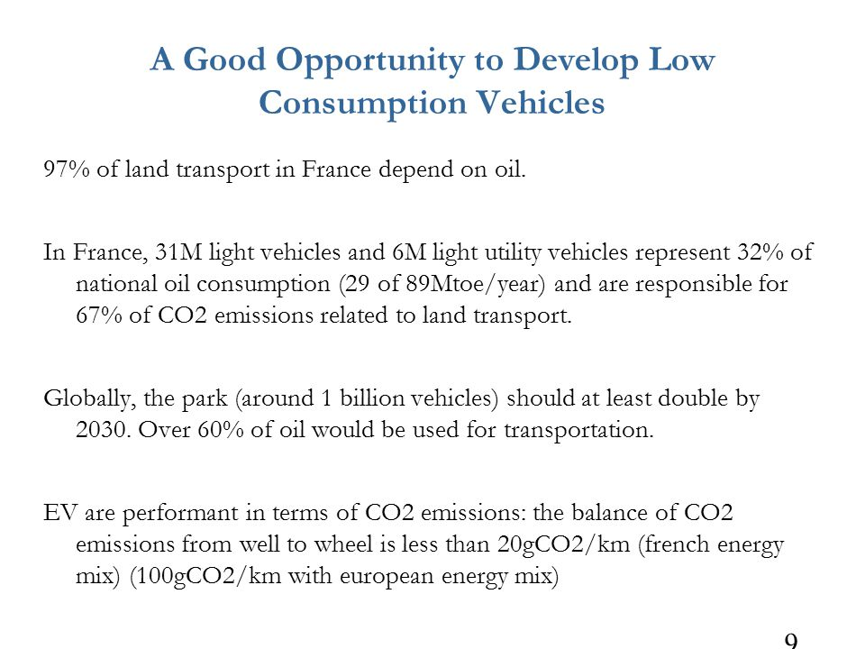 9 A Good Opportunity to Develop Low Consumption Vehicles 97% of land transport in France depend on oil.