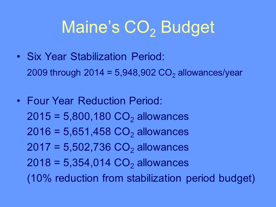 Maine's CO 2 Budget Six Year Stabilization Period: 2009 through 2014 = 5,948,902 CO 2 allowances/year Four Year Reduction Period: 2015 = 5,800,180 CO 2 allowances 2016 = 5,651,458 CO 2 allowances 2017 = 5,502,736 CO 2 allowances 2018 = 5,354,014 CO 2 allowances (10% reduction from stabilization period budget)