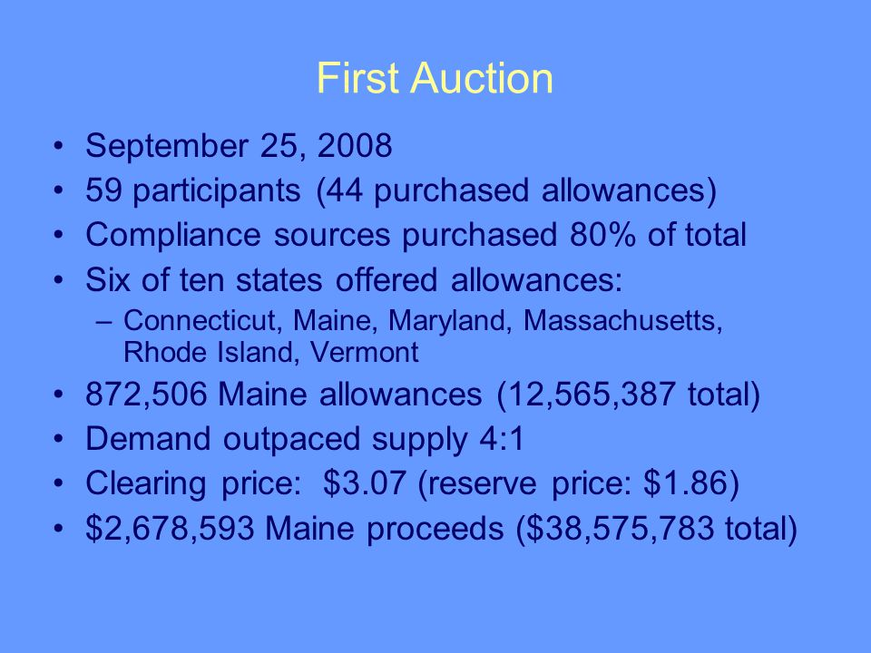 First Auction September 25, 2008 59 participants (44 purchased allowances) Compliance sources purchased 80% of total Six of ten states offered allowances: –Connecticut, Maine, Maryland, Massachusetts, Rhode Island, Vermont 872,506 Maine allowances (12,565,387 total) Demand outpaced supply 4:1 Clearing price: $3.07 (reserve price: $1.86) $2,678,593 Maine proceeds ($38,575,783 total)