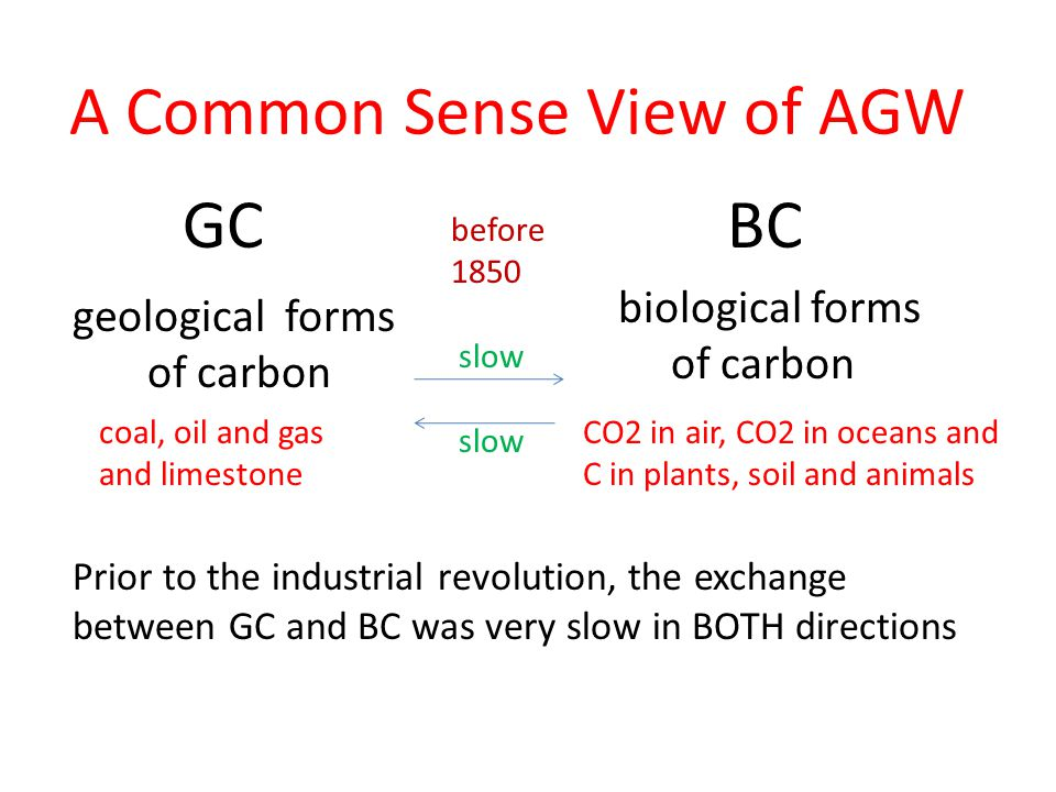 A Common Sense View of AGW geological forms of carbon biological forms of carbon coal, oil and gas and limestone CO2 in air, CO2 in oceans and C in plants, soil and animals Prior to the industrial revolution, the exchange between GC and BC was very slow in BOTH directions GC BC before 1850 slow