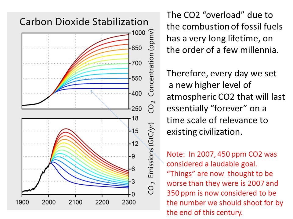 The CO2 overload due to the combustion of fossil fuels has a very long lifetime, on the order of a few millennia.