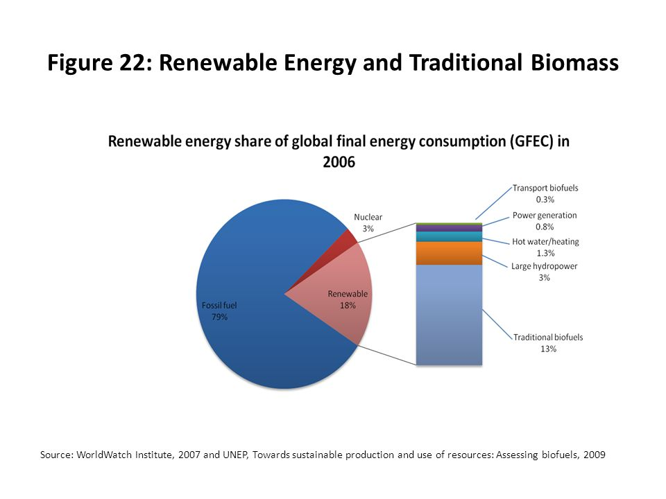 Figure 22: Renewable Energy and Traditional Biomass Source: WorldWatch Institute, 2007 and UNEP, Towards sustainable production and use of resources: