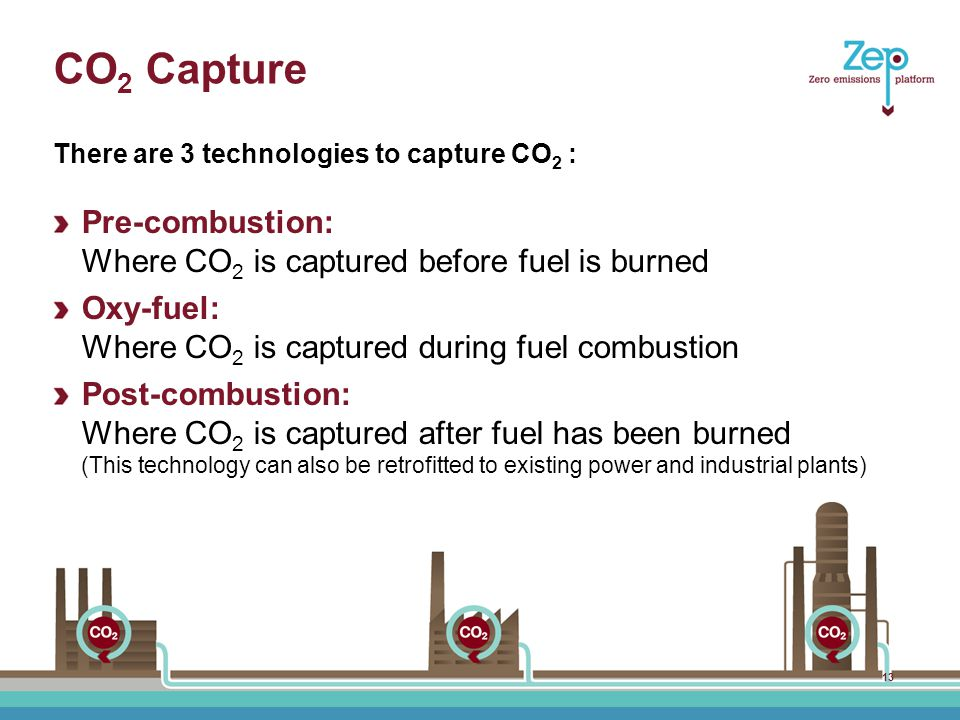 CO 2 Capture Pre-combustion: Where CO 2 is captured before fuel is burned Oxy-fuel: Where CO 2 is captured during fuel combustion Post-combustion: Where CO 2 is captured after fuel has been burned (This technology can also be retrofitted to existing power and industrial plants) There are 3 technologies to capture CO 2 : 13