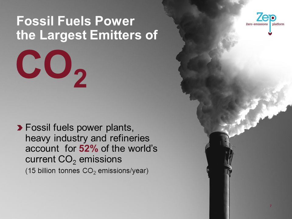 Fossil Fuels Power the Largest Emitters of 7 Fossil fuels power plants, heavy industry and refineries account for 52% of the world's current CO 2 emissions (15 billion tonnes CO 2 emissions/year) CO 2