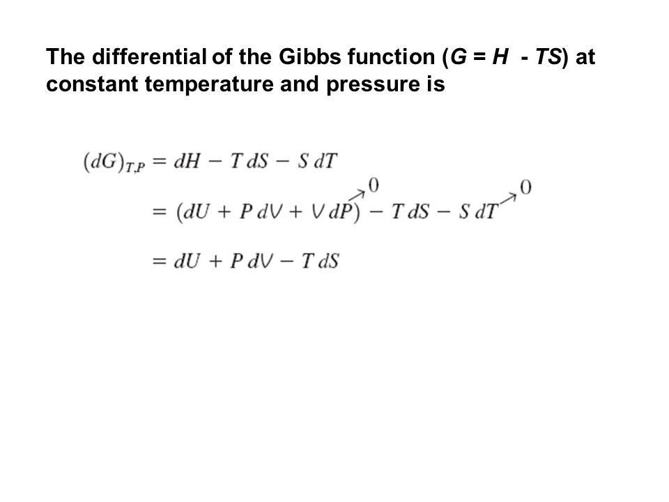 The differential of the Gibbs function (G = H - TS) at constant temperature and pressure is