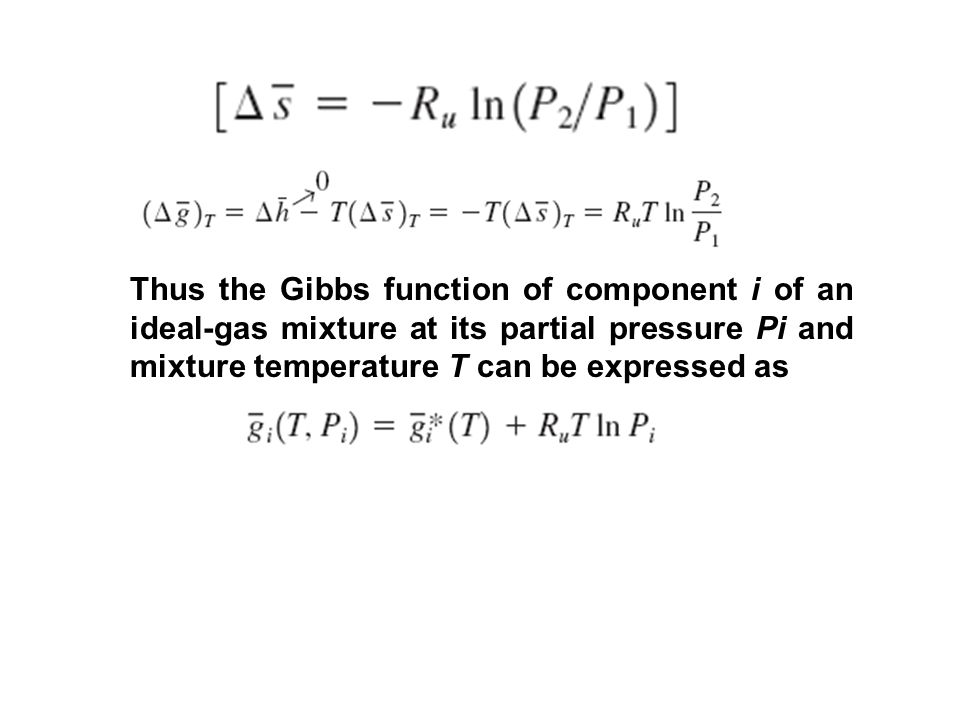 Thus the Gibbs function of component i of an ideal-gas mixture at its partial pressure Pi and mixture temperature T can be expressed as