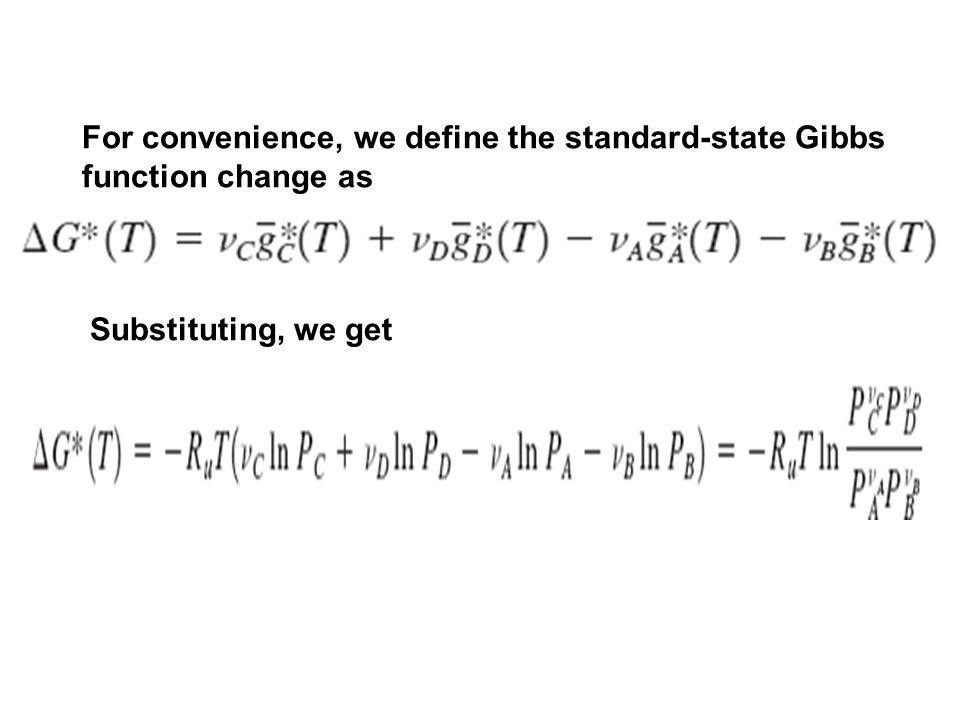 For convenience, we define the standard-state Gibbs function change as Substituting, we get