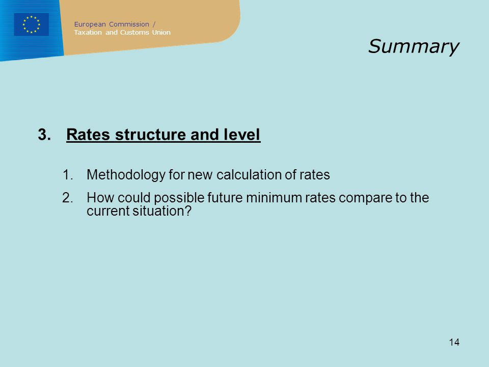 14 Summary 3.Rates structure and level 1.Methodology for new calculation of rates 2.How could possible future minimum rates compare to the current situation.