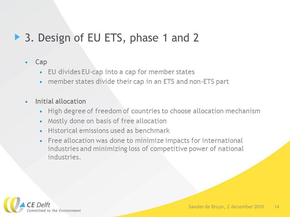 14Sander de Bruyn, 2 december 2010 3. Design of EU ETS, phase 1 and 2 Cap EU divides EU-cap into a cap for member states member states divide their ca