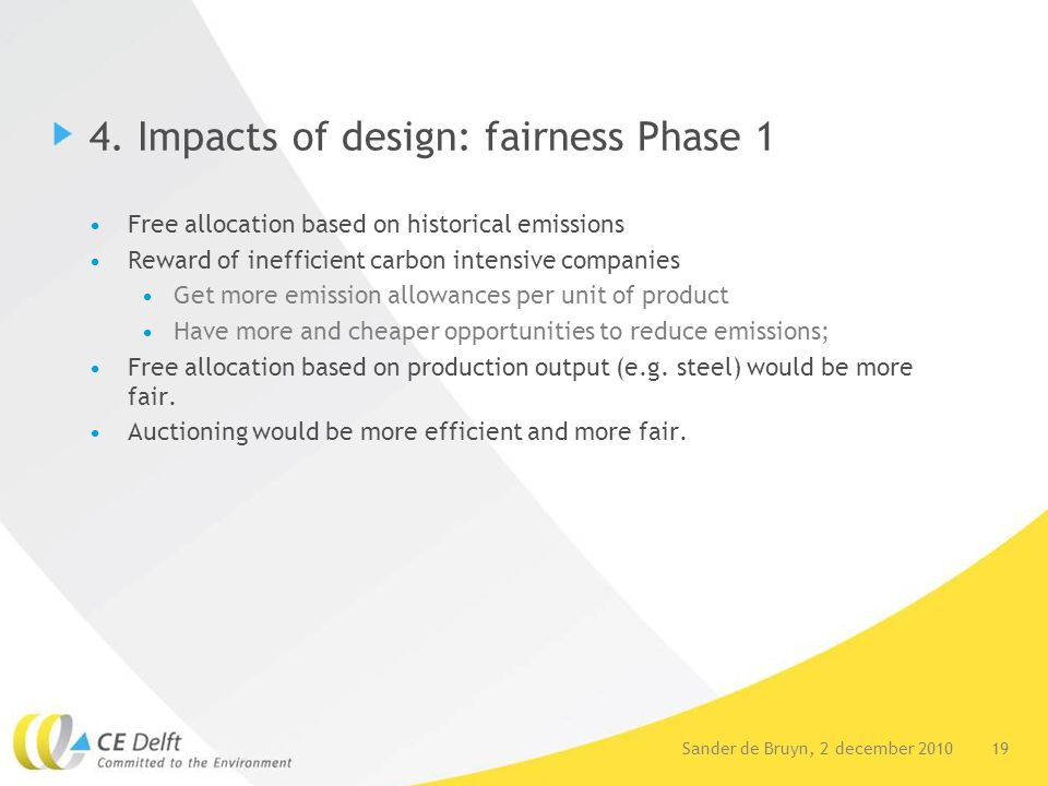 19Sander de Bruyn, 2 december 2010 4. Impacts of design: fairness Phase 1 Free allocation based on historical emissions Reward of inefficient carbon i