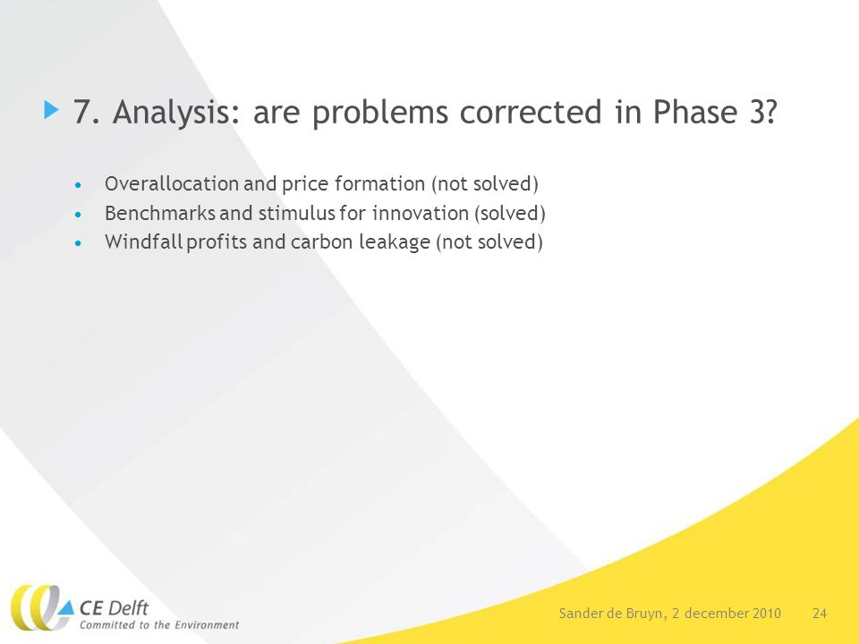 24Sander de Bruyn, 2 december 2010 7. Analysis: are problems corrected in Phase 3.