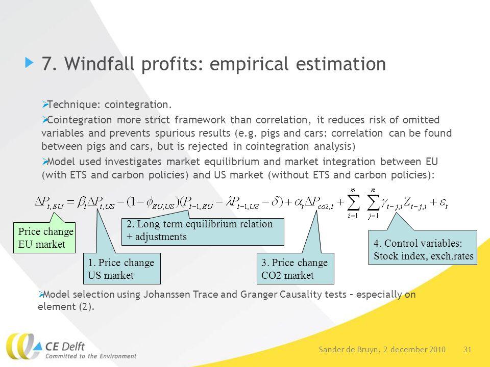 31Sander de Bruyn, 2 december 2010 7. Windfall profits: empirical estimation  Technique: cointegration.  Cointegration more strict framework than co