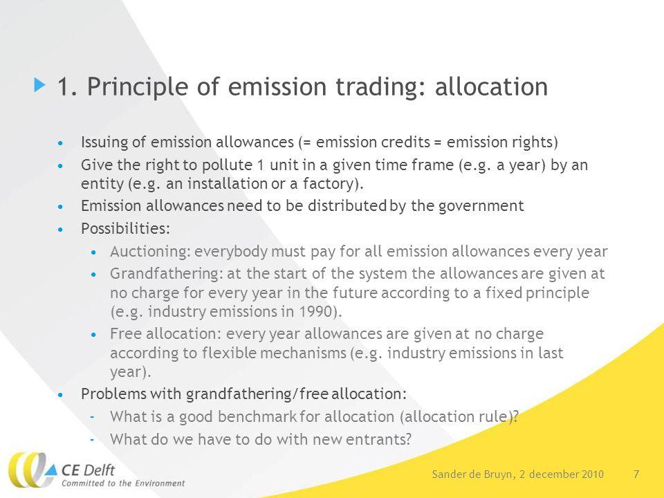 7Sander de Bruyn, 2 december 2010 1. Principle of emission trading: allocation Issuing of emission allowances (= emission credits = emission rights) G