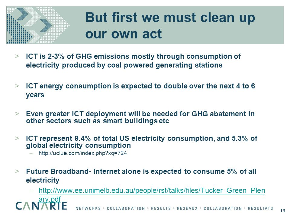 But first we must clean up our own act >ICT is 2-3% of GHG emissions mostly through consumption of electricity produced by coal powered generating stations >ICT energy consumption is expected to double over the next 4 to 6 years >Even greater ICT deployment will be needed for GHG abatement in other sectors such as smart buildings etc >ICT represent 9.4% of total US electricity consumption, and 5.3% of global electricity consumption – http://uclue.com/index.php xq=724 >Future Broadband- Internet alone is expected to consume 5% of all electricity – http://www.ee.unimelb.edu.au/people/rst/talks/files/Tucker_Green_Plen ary.pdf http://www.ee.unimelb.edu.au/people/rst/talks/files/Tucker_Green_Plen ary.pdf 13