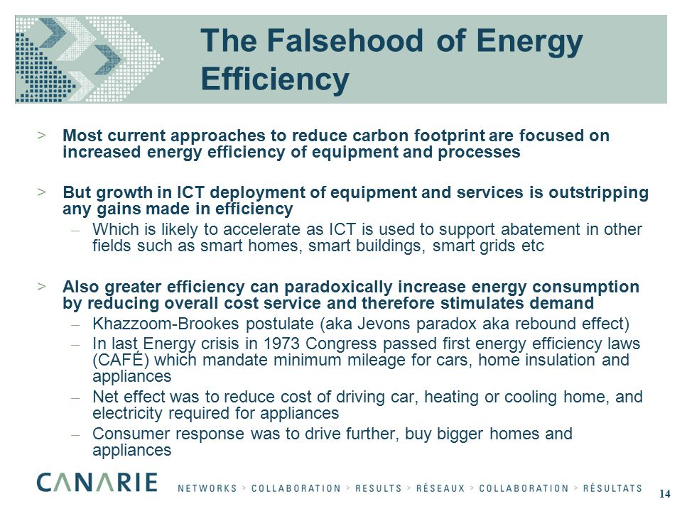 The Falsehood of Energy Efficiency >Most current approaches to reduce carbon footprint are focused on increased energy efficiency of equipment and pro