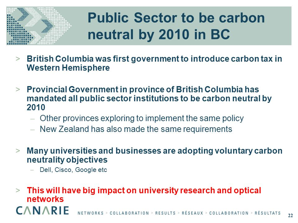 Public Sector to be carbon neutral by 2010 in BC >British Columbia was first government to introduce carbon tax in Western Hemisphere >Provincial Government in province of British Columbia has mandated all public sector institutions to be carbon neutral by 2010 – Other provinces exploring to implement the same policy – New Zealand has also made the same requirements >Many universities and businesses are adopting voluntary carbon neutrality objectives – Dell, Cisco, Google etc >This will have big impact on university research and optical networks 22