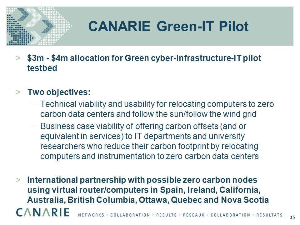 CANARIE Green-IT Pilot >$3m - $4m allocation for Green cyber-infrastructure-IT pilot testbed >Two objectives: – Technical viability and usability for relocating computers to zero carbon data centers and follow the sun/follow the wind grid – Business case viability of offering carbon offsets (and or equivalent in services) to IT departments and university researchers who reduce their carbon footprint by relocating computers and instrumentation to zero carbon data centers >International partnership with possible zero carbon nodes using virtual router/computers in Spain, Ireland, California, Australia, British Columbia, Ottawa, Quebec and Nova Scotia 25