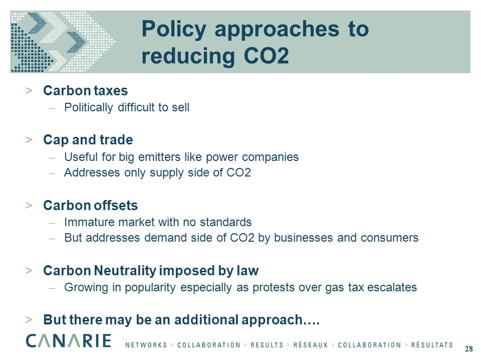 Policy approaches to reducing CO2 >Carbon taxes – Politically difficult to sell >Cap and trade – Useful for big emitters like power companies – Addresses only supply side of CO2 >Carbon offsets – Immature market with no standards – But addresses demand side of CO2 by businesses and consumers >Carbon Neutrality imposed by law – Growing in popularity especially as protests over gas tax escalates >But there may be an additional approach….