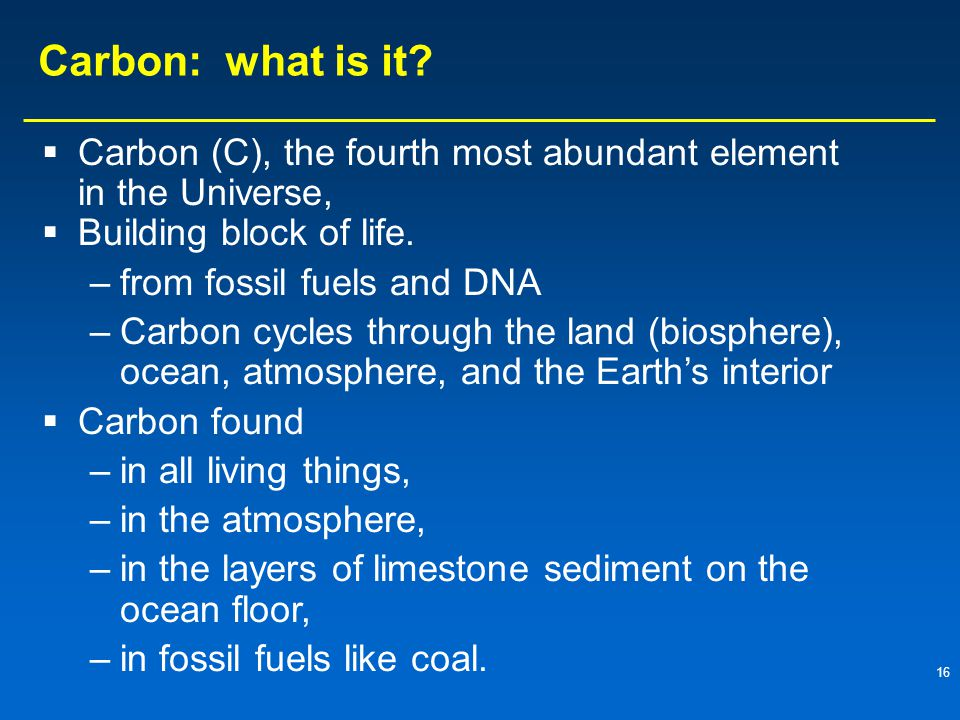 16 Carbon: what is it.