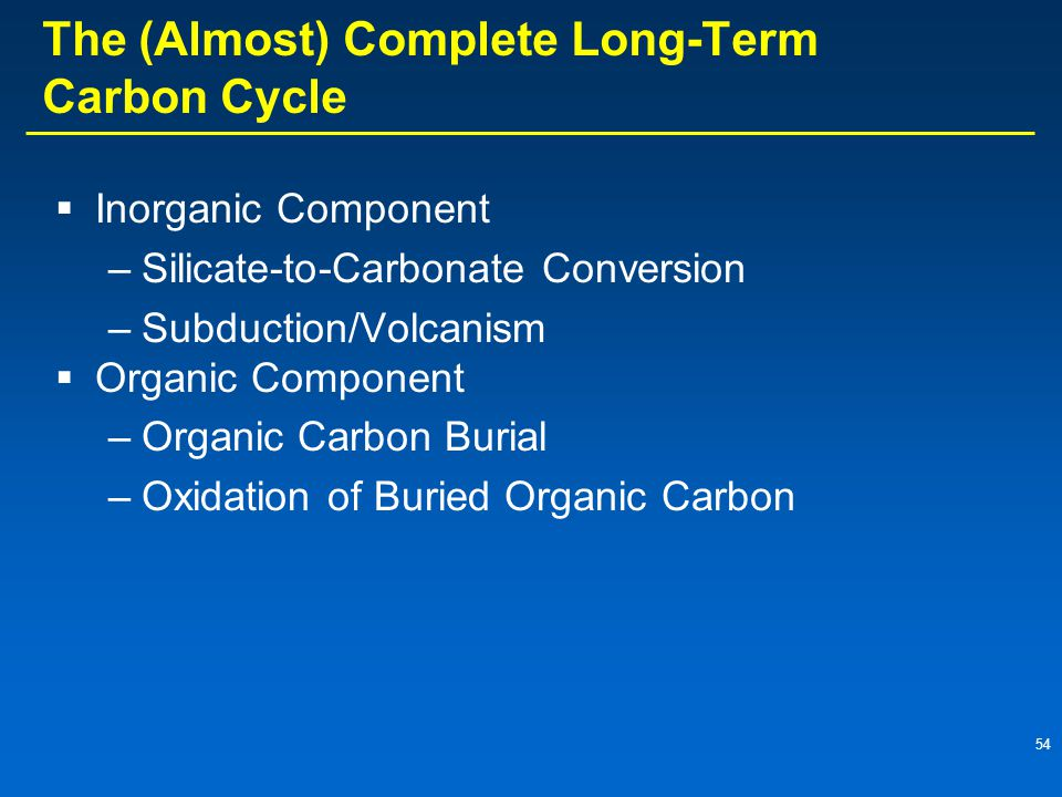 54 The (Almost) Complete Long-Term Carbon Cycle  Inorganic Component –Silicate-to-Carbonate Conversion –Subduction/Volcanism  Organic Component –Organic Carbon Burial –Oxidation of Buried Organic Carbon
