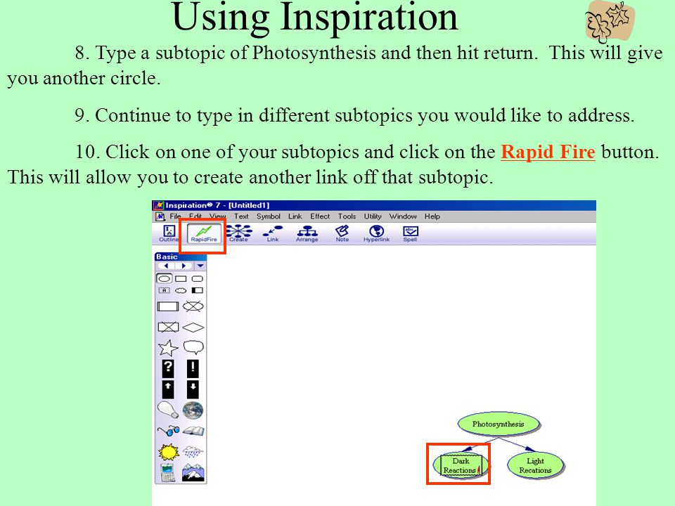 Using Inspiration 7. Now click on Rapid Fire located at the top menu bar.