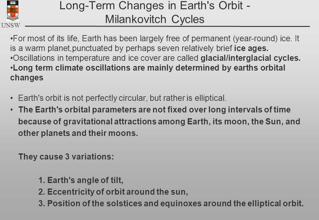 UNSW Long-Term Changes in Earth's Orbit - Milankovitch Cycles Earth's orbit is not perfectly circular, but rather is elliptical. The Earth's orbital p
