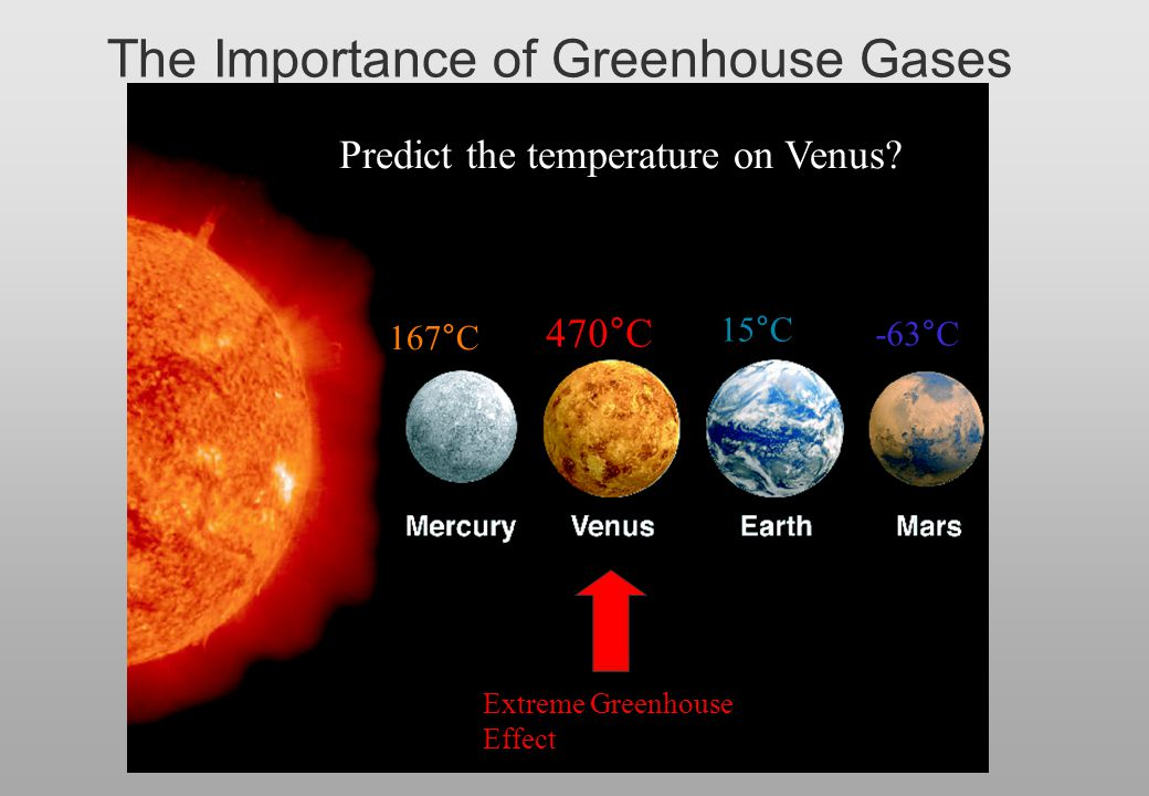 The Importance of Greenhouse Gases 167  C -63  C 15  C 470  C Predict the temperature on Venus? Extreme Greenhouse Effect