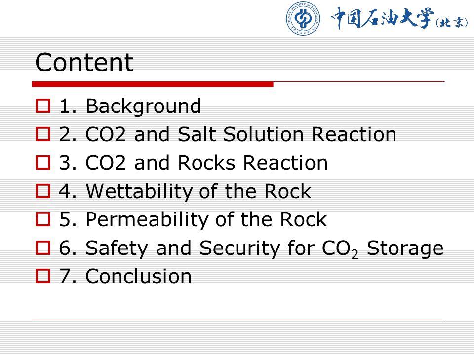 P:2MPa ; Reaction T: 65 ℃; Test T : 25 ℃ Silica sand: Calcit=1 : 1 5.