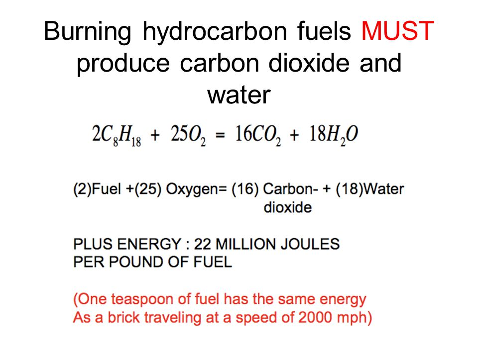 Burning hydrocarbon fuels MUST produce carbon dioxide and water