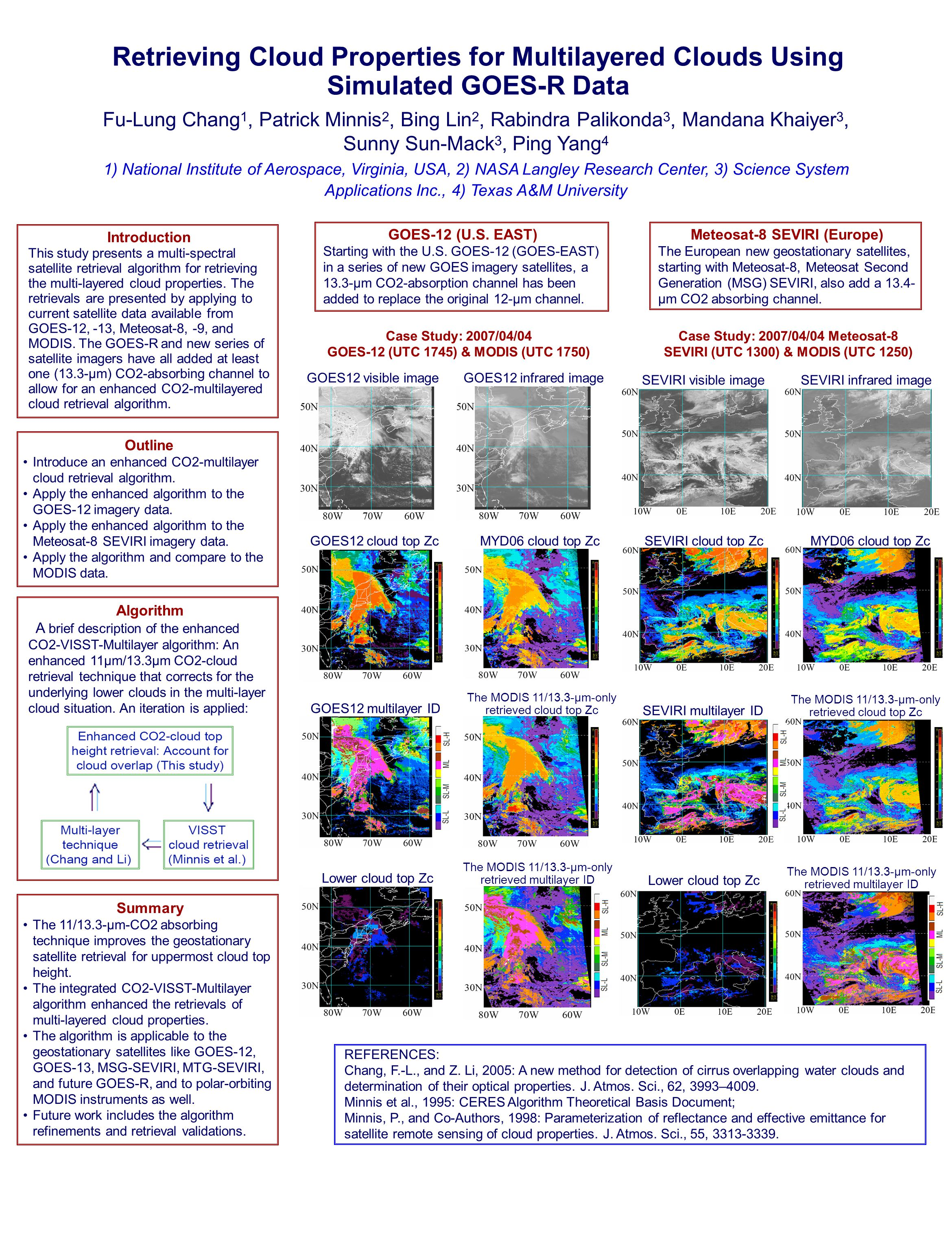 Retrieving Cloud Properties for Multilayered Clouds Using Simulated GOES-R Data Fu-Lung Chang 1, Patrick Minnis 2, Bing Lin 2, Rabindra Palikonda 3, Mandana Khaiyer 3, Sunny Sun-Mack 3, Ping Yang 4 1) National Institute of Aerospace, Virginia, USA, 2) NASA Langley Research Center, 3) Science System Applications Inc., 4) Texas A&M University Meteosat-8 SEVIRI (Europe) The European new geostationary satellites, starting with Meteosat-8, Meteosat Second Generation (MSG) SEVIRI, also add a 13.4- µm CO2 absorbing channel.