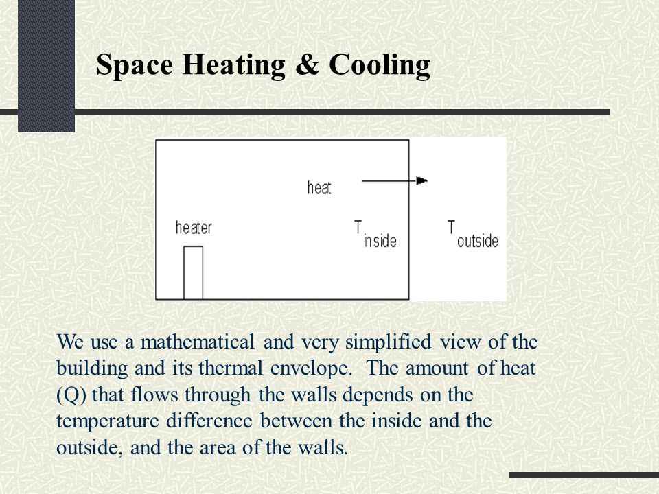 Space Heating & Cooling We use a mathematical and very simplified view of the building and its thermal envelope. The amount of heat (Q) that flows thr